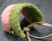 Knit Cuff in Lime Green and Pale Pink