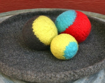 Charcoal Gray felted bowl or Mouse Pad