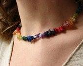 Rainbow Crystal Gemstone Necklace / FREE SHIPPING