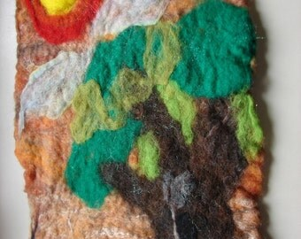 Felted Wool Old Growth Tree Felt Wall Hanging
