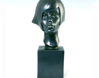 Sculpture Ceramic Bust Female - SERENA - pewter Ltd ed 75
