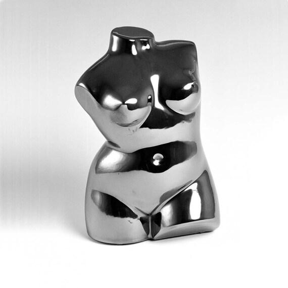 "Sculpture Ceramic Female Nude TORSO  silver 8""x5"" Ltd ed 75"