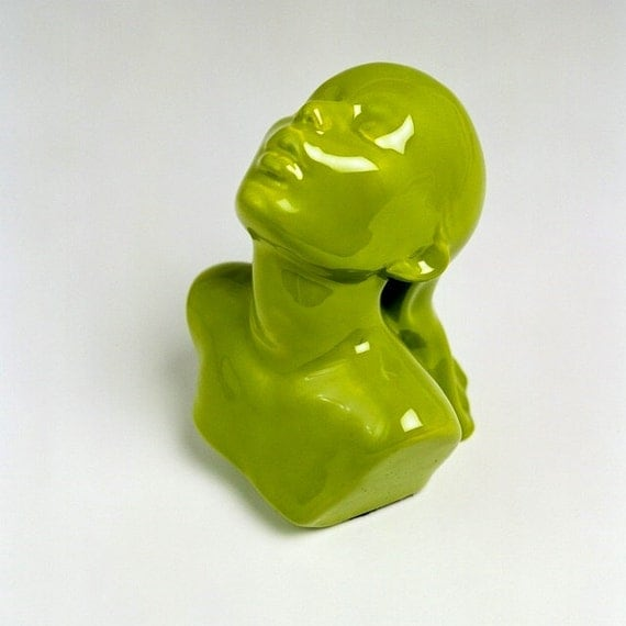 40% OFF - Sculpture Ceramic Bust Female EMERGENCE kiwi green Ltd ed 75
