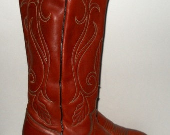 Sz 6 Vintage rusk tall leather cowgirl boots.