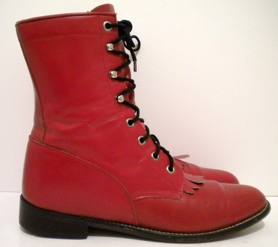Sz 8 Vintage red leather lace up Diamond J Justin granny combat boots.