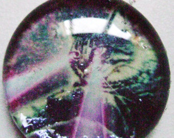 Laser Cat in Space Glass Collage Pendant