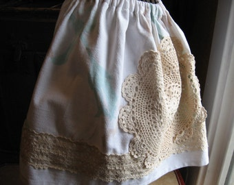 Vintage Mini Skirt with Cream Lace