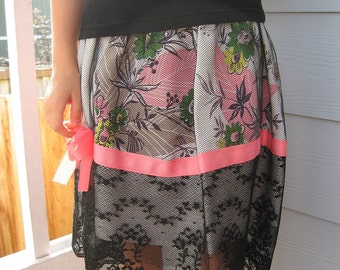 Sweet Vintage Linen Skirt for Girls