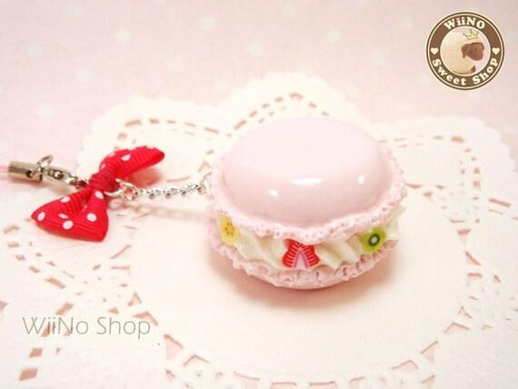 Pink Macaron White Polk Dots Hot Pink Bow Phone Strap Charm