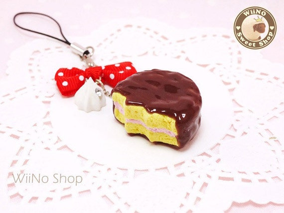 Sweet Chocolate Pie w/ White Polk Dots Red Bow Phone Strap Charm