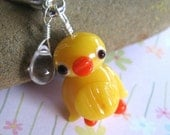 Quacking in the Rain keychain - yellow lampwork glass duck and rain drop on a silvertone key ring -Free Shipping USA