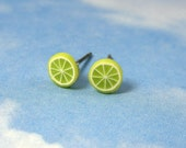 Cute Tiny Lime slice post earrings -green citrus goodness -Free Shipping USA