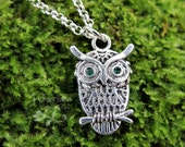 Antiqued Silver Owl with Green Crystal Eyes Necklace - silver plated chain -Free Shipping USA