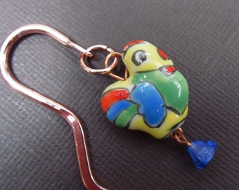 Mr Chicken Bookmark - colorful rooster and blue flower - copper bookmark -Free Shipping USA