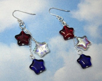 Red, white and blue stars earrings - patriotic - glass and sterling silver  -Free Shipping USA