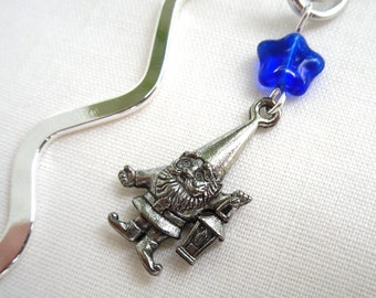 Friendly Gnome Bookmark - gnome charm, blue glass star, rhodium pewter moon on silver plated bookmark -Free Shipping USA