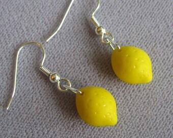 Lemon earrings - cute yellow glass lemon beads on hypoallergenic silver plated ear wires