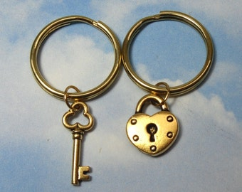 Key to my Heart Keychains- 22k gold- for friends, couples, love, anniversary - Free shipping in USA