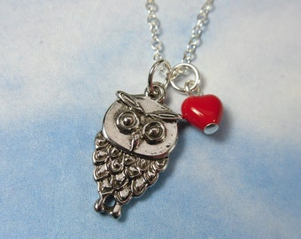 Owl Love You Forever - silver owl & red heart on sterling chain -Free Shipping USA