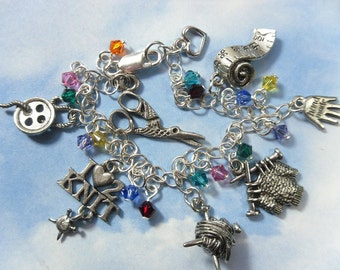 Deluxe Love to Knit Charm Bracelet with Swarovski crystals (you pick colors)- sweater, knitting needles, ball of yarn charms and more