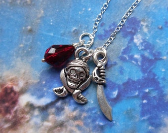 Swashbuckler necklace - silver - sword & pirate skull charms with ruby red Swarovski crystals on sterling silver chain -Free Shipping USA