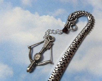 Dragon & Crossbow Bookmark - silver tone detailed bookmark with blood red crystal - perfect for fantasy fans and gamers -Free Shipping USA