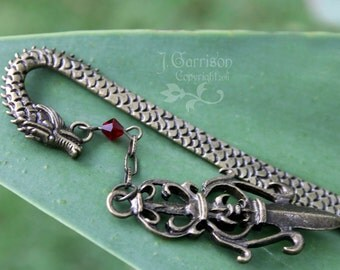 Ancient Dragon & Sword Bookmark - antiqued bronze bookmark with blood red crystal - perfect for fantasy lovers -Free Shipping USA