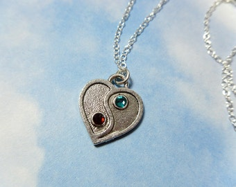 Yin Yang Heart Necklace with birthstone crystals - sterling silver chain- custom for you -Free Shipping USA