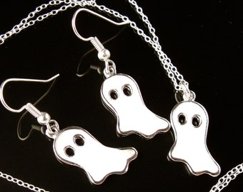 Friendly Ghost Necklace & Earring Set - Halloween - white enamel charms -Free Shipping USA