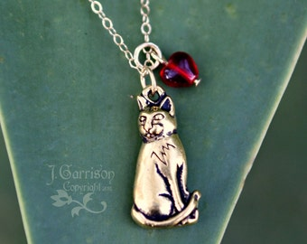Kitty Love Necklace - Gold cat & red heart on gold chain - Adorable-Free Shipping USA