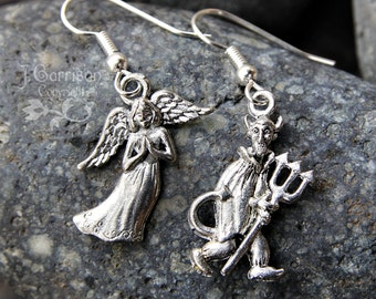 Angel & Devil Earrings - Good vs. Evil, antiqued silver pewter charms, hypoallergenic earwires -Free Shipping USA