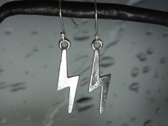 Lightning Bolt Earrings in silver - gift for fans of Harry Potter, Power, or Inclement Weather -Free Shipping USA