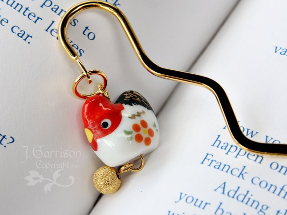 Posh Chicken bookmark - red and white ceramic hen and gold plated egg on a gold plated bookmark - great gift -Free Shipping USA