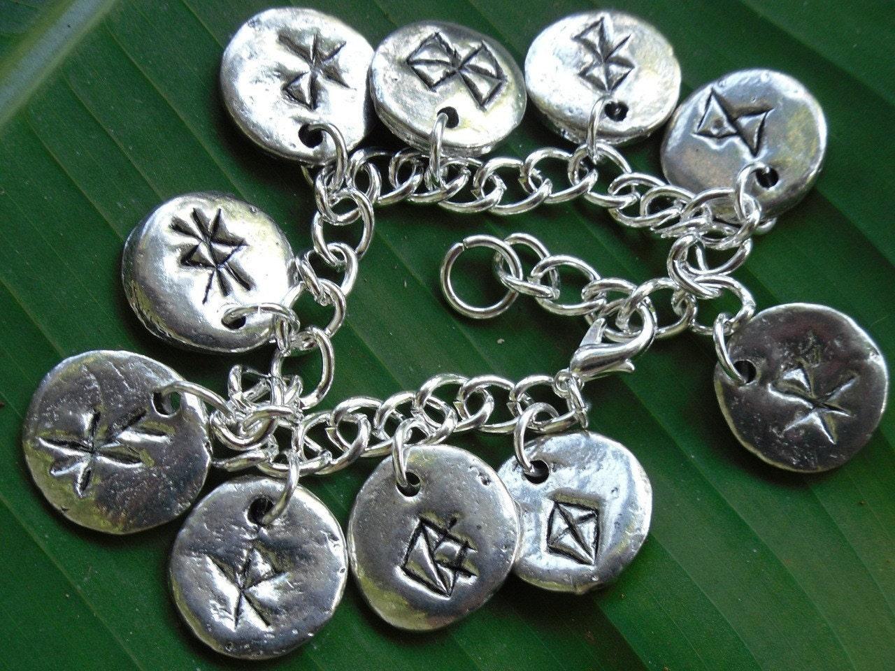 Bind Runes Charm Bracelet Ancient Runic Symbols On Chunky