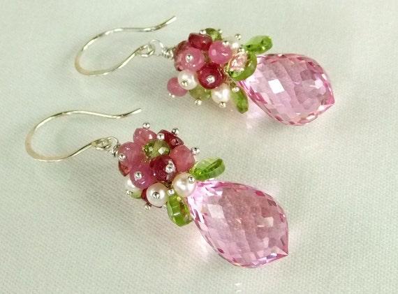 Pink Topaz Dangle Earrings, Pink Sapphire, Ruby, Pearl,Silver, Wire Wrapped Gemstone Earrings