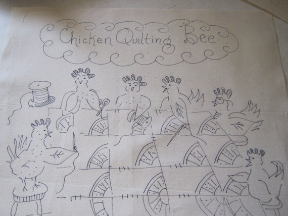 Chicken Quilting Bee embroidery to do original whimsical