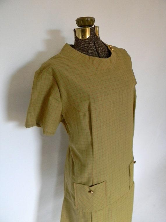 """SPRING SALE""""""""""""""""""""Olive green 60s Mod Shift Dress"""