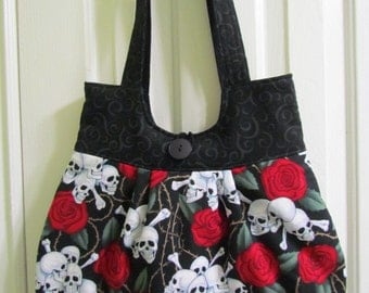 Skull with Red Roses Purse