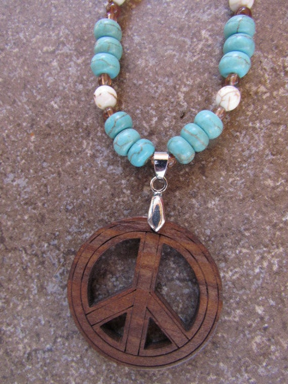 Brown Peace Sign with Turquoise Beads Necklace