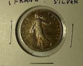 Silver France 1 Franc Coin