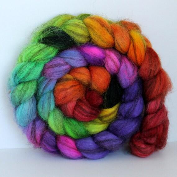 Rainbows - Mixed BFL Hand Painted Roving - 4ozs