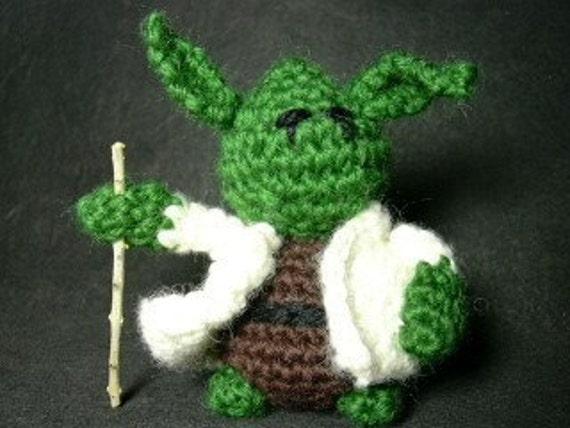 PATTERN Master Jedi Yoda, crochet amigurumi with coat, hood and walking stick, FREE SHIPPING