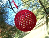 Christmas Tree Ornaments, Crochet Covered Glass