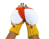 Candy Corn Crocheted Convertible Mittens