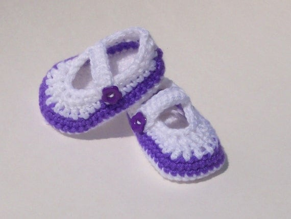Crocheted Mary Jane Shoes Baby Shoes / Booties 0 - 3 Months White and Purple