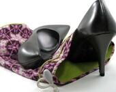 Shoe Bag- Pink Ironwork Floral Print (lime green lining)