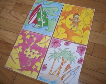 Set of 4 Pink Island Surf Aloha Key West Prints / Pictures for your little girls bedroom