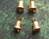 10 tiny brass bell charms, 10mm