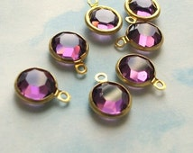 10 amethyst purple swarovski crystal drops, gold plated setting, 9mm