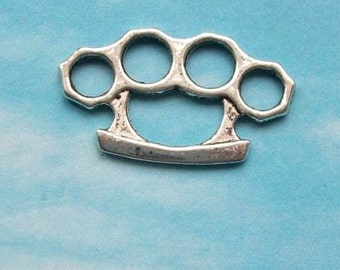 40 knuckle duster charms or connectors, brass knuckles, silver tone, 25mm